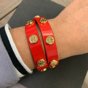Tory Burch Logo Wrap in Patent Red